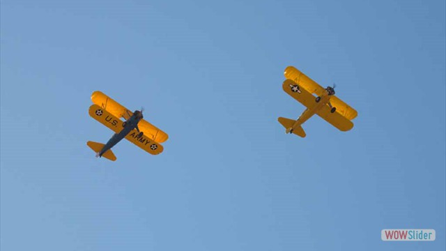 Stearman N54173 and Andreas Hotea flying in Formation-7